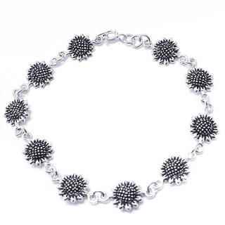 Sterling Silver Pretty Sunflower Link Bracelet (Thailand)