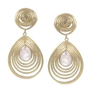 Rivka Friedman Rose Quartz Gem Teardrop Coil Earrings