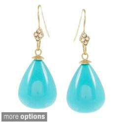 Rivka Friedman Gemstone CZ Hook Bold Teardrop Bead Earrings
