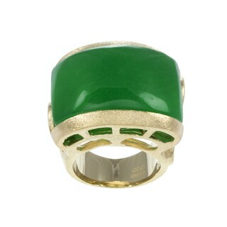 Rivka Friedman Goldtone Green Quartzite Bold Scroll Design Ring
