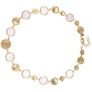 Rivka Friedman Lavender Quartzite Gemstone Slice and Concave Pebble Necklace