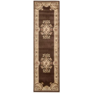 Aubusson Collection Brown Runner Rug (2'3 x 8')