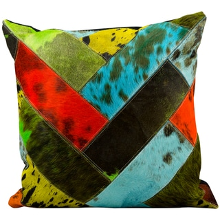 Mina Victory Natural Leather Hide Multi Color 20 x 20-inch Decorative Pillow by Nourison