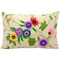 Mina Victory Life Styles Purple Flower Garden Ivory 14 x 20-inch Pillow by Nourison