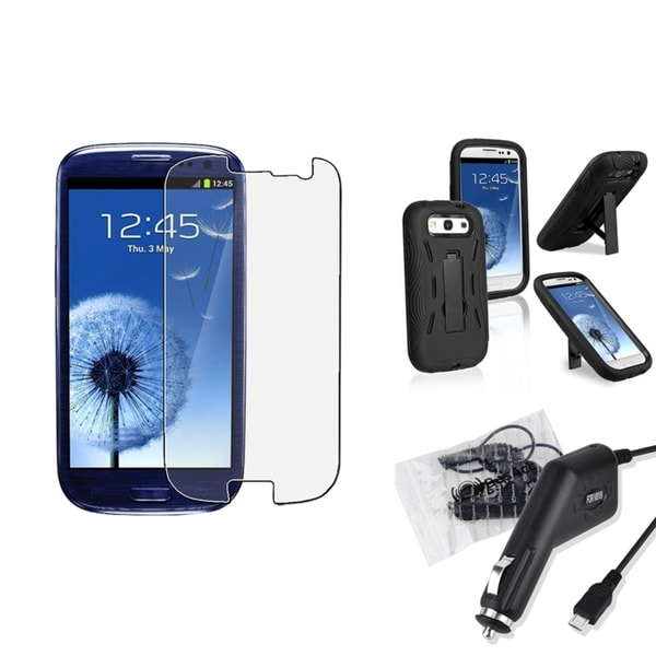 INSTEN Phone Case Cover/ Car Charger/ LCD Protector for Samsung Galaxy S III/ S3