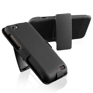 BasAcc Black Swivel Holster with Stand for HTC One V