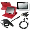 BasAcc Red Leather Case/ Protector/ Charger/ Cable for Kindle Fire HD