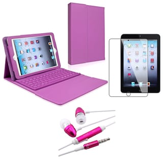 BasAcc Purple Bluetooth Keyboard Case/ Headset for Apple iPad Mini