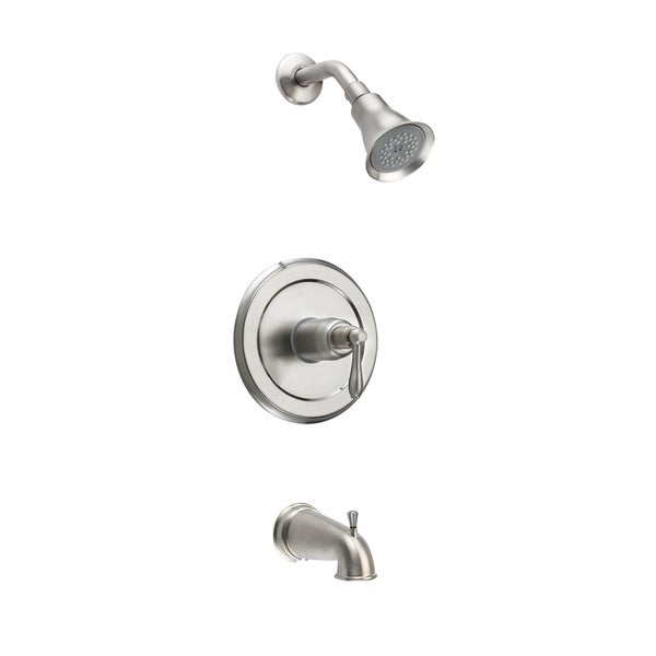 montbeliard brushed nickel single handle tub and shower faucet