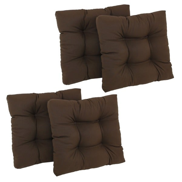 Blazing Needles Solid Tufted Chair Cushions (Set of 4)