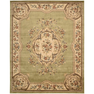 Aubusson Collection Light Green Area Rug (7'9 x 9'9)