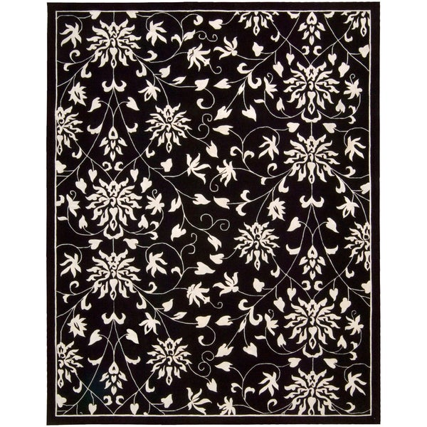 Nourison Hand-tufted Versailles Palace Floral Black/White Rug (9'6 x 13'6)