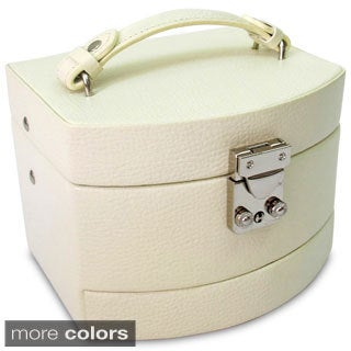 Cream Laura Leather Jewelry Box