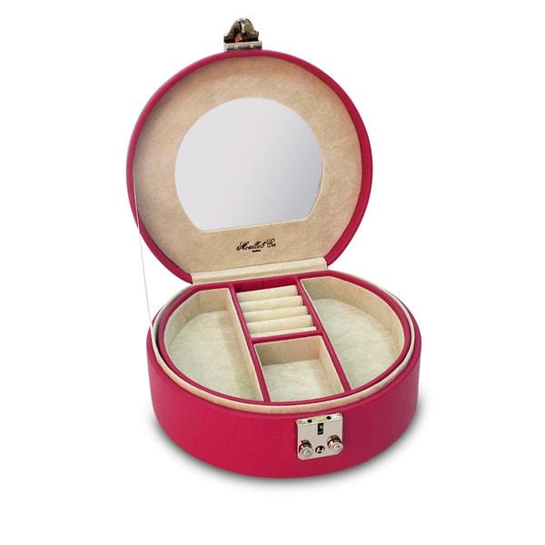 Morelle Raspberry Linda Half Moon Leather Jewelry Box