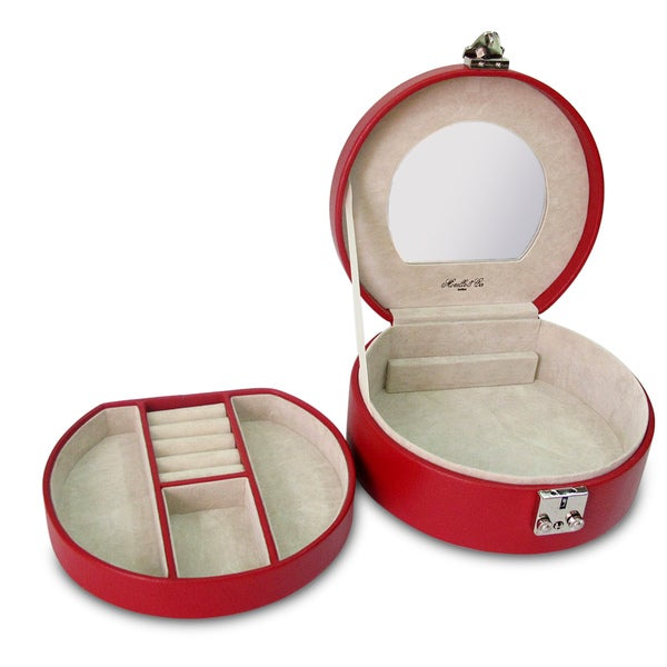Red Linda Half Moon Leather Jewelry Box