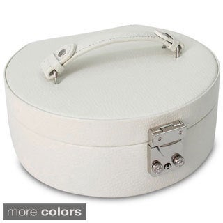 White Linda Half Moon Leather Jewelry Box