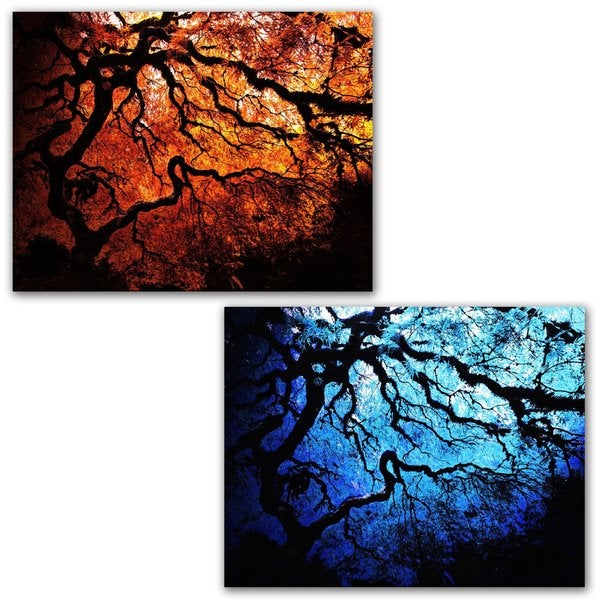 John Black 'Japanese Fire and Ice Trees' 2-Piece Gallery Wrapped Canvas