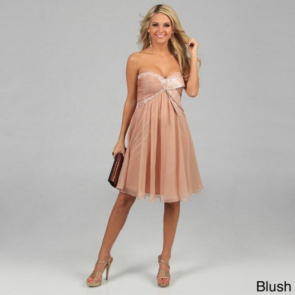Issue New York Women's Short Strapless Sequin Accented Bust Evening Dress