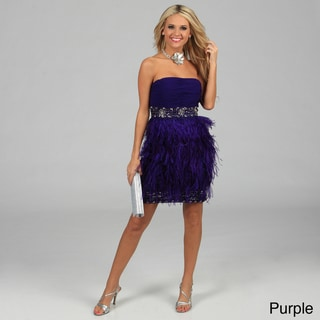 Issue New York Women's Strapless Feather Trimmed Sequin Evening Dress