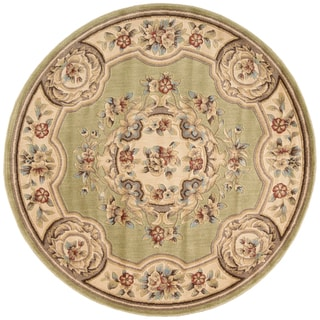 Aubusson Collection Light Green Area Rug (5'3 Round)
