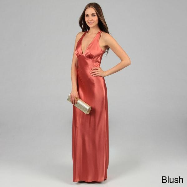 Issue New York Women's Sleeveless Criss-Cross Open-Back Long Evening Dress