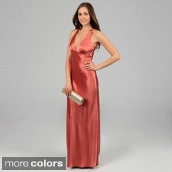 Issue New York Women's Sleeveless Criss-Cross Open-Back Long Evening Dress