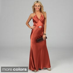 Issue New York Women's Long Rhinestone Belted Halter Evening Dress