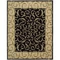 Hand-knotted Versailles Palace Vine Black Rug (9&#39;6 x 13&#39;6)