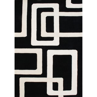 Alliyah Handmade Tufted Black New Zeaand Blend Wool Rug (9' x 12')