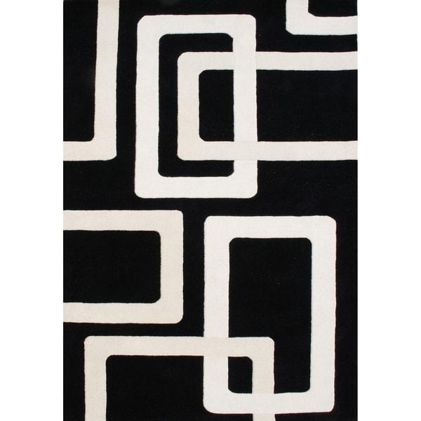 Alliyah Handmade Black New Zealand Blend Wool Rug (9' x 12')