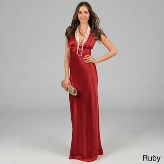 Issue New York Women's Long Deep V-Neck Twisted Strap Evening Dress