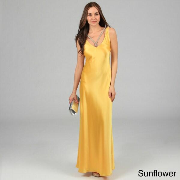 Issue New York Women's Rhinestone Necklace Open-back Evening Dress
