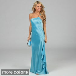 Issue New York Women's U-Ring Detail One-shoulder Long Evening Dress