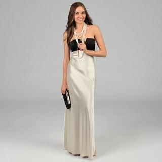 Issue New York Women's Black and Ivory Long Two-tone Strapless Evening Dress