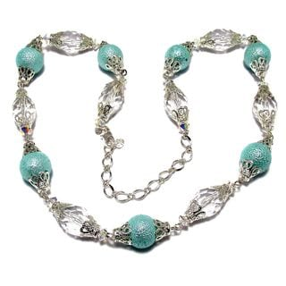 Silverplated Light Aqua Bumpy Glass Pearl Wedding Jewelry Set