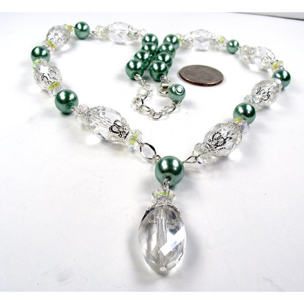 Silverplated Sage Green Glass Pearl Wedding Jewelry Set