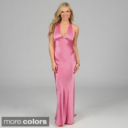 Issue New York Women's Criss-cross Open Back Long Evening Dress