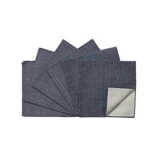 Rose Tree 18-inch Square Navy Seagrass Napkins (Set of 6)