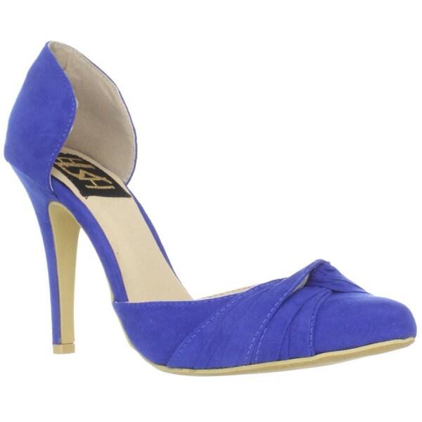 Fahrenheit Women's 'CR-03' Knot Detail Blue Pointed-Toe Pumps