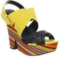 Fahrenheit Women's Yellow 'Gemma' Wrapped Wedge Pumps