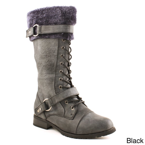 Women's Lace-up Block Heel Boots