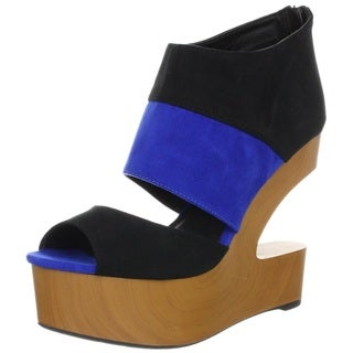 Fahrenheit Women's 'Britney' Faux Suede Cut-out Wedge Heels