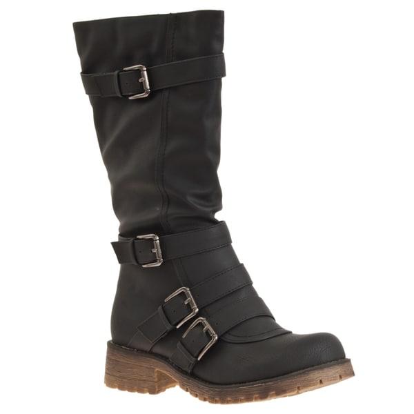 Riverberry Women's 'Combat' Buckle Detail Boots