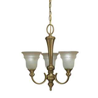 Aztec Lighting Antique Brass 3-light Chandlier