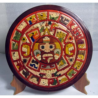 Handcrafted Wood Aztec Calendar (Mexico)