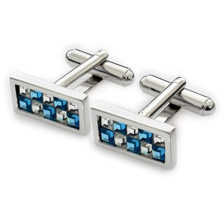 EJ Sutton Classic Crystal Cuff Links, Blue and Clear (Israel)