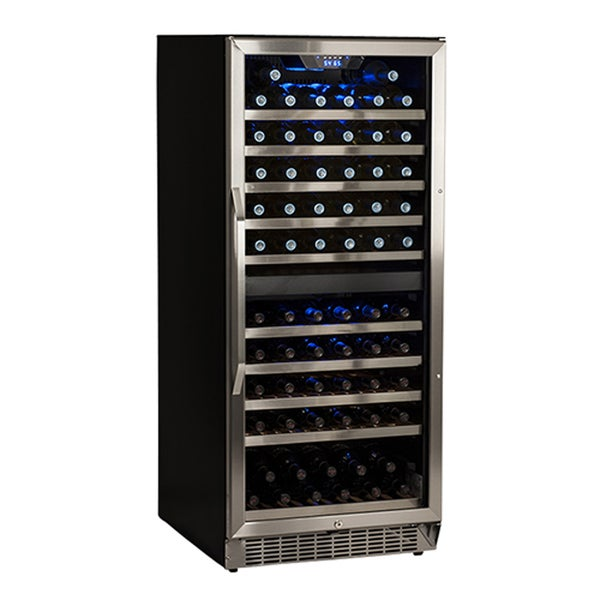 EdgeStar Stainless Steel and Black 110 Bottle Built-In Dual Zone Wine Cooler