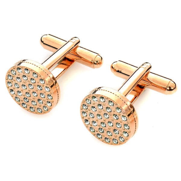 EJ Sutton Classic Red-Gold Plated Crystal Cuff Links (Israel)