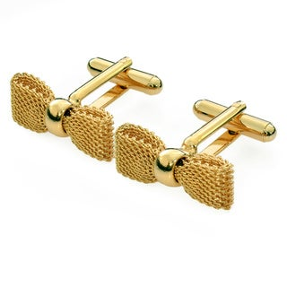 Gold Plated Bow Tie Cuff Links (Israel)