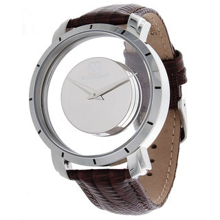 Steinhausen Men's Stainless Steel Floating Quartz Silver Dial Watch with Lizard Grain Leather Band